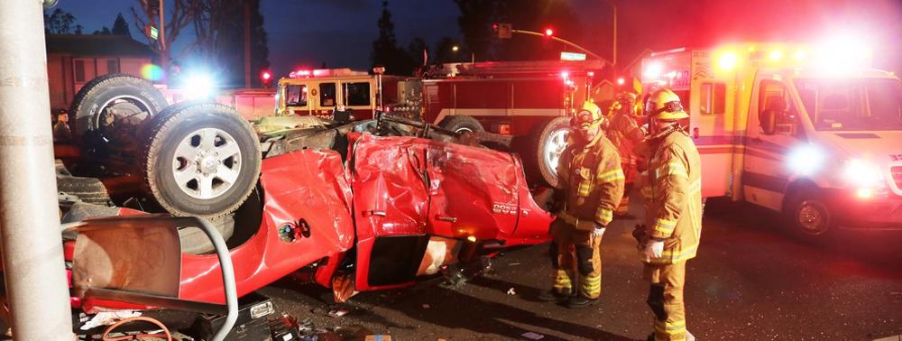 This image shows firemen assisting an accident scene in Finneytown, OH