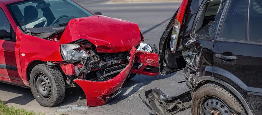 This image shows two vehicles that have been involved in an accident in Finneytown, OH.