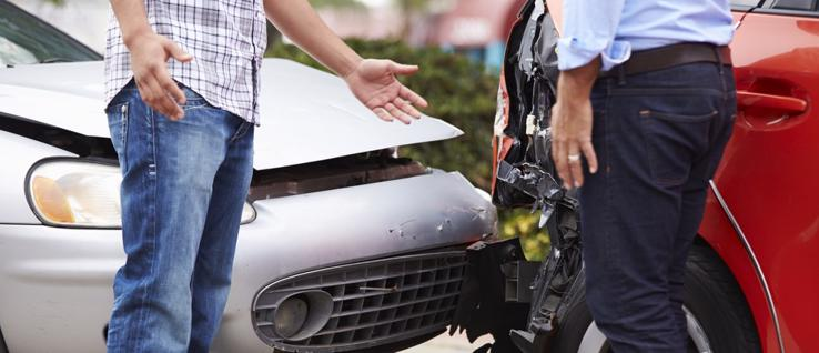 This image shows two people arguing over who was at fault in a car accident in Indiana.