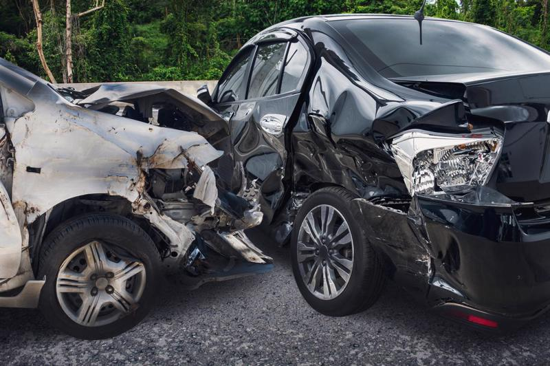 Two heavily damaged cars after a t-bone accident in Cincinnati.